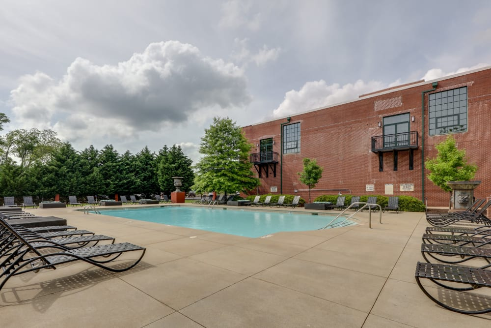 Sparkling pool at The Lofts Of Greenville in Greenville, South Carolina