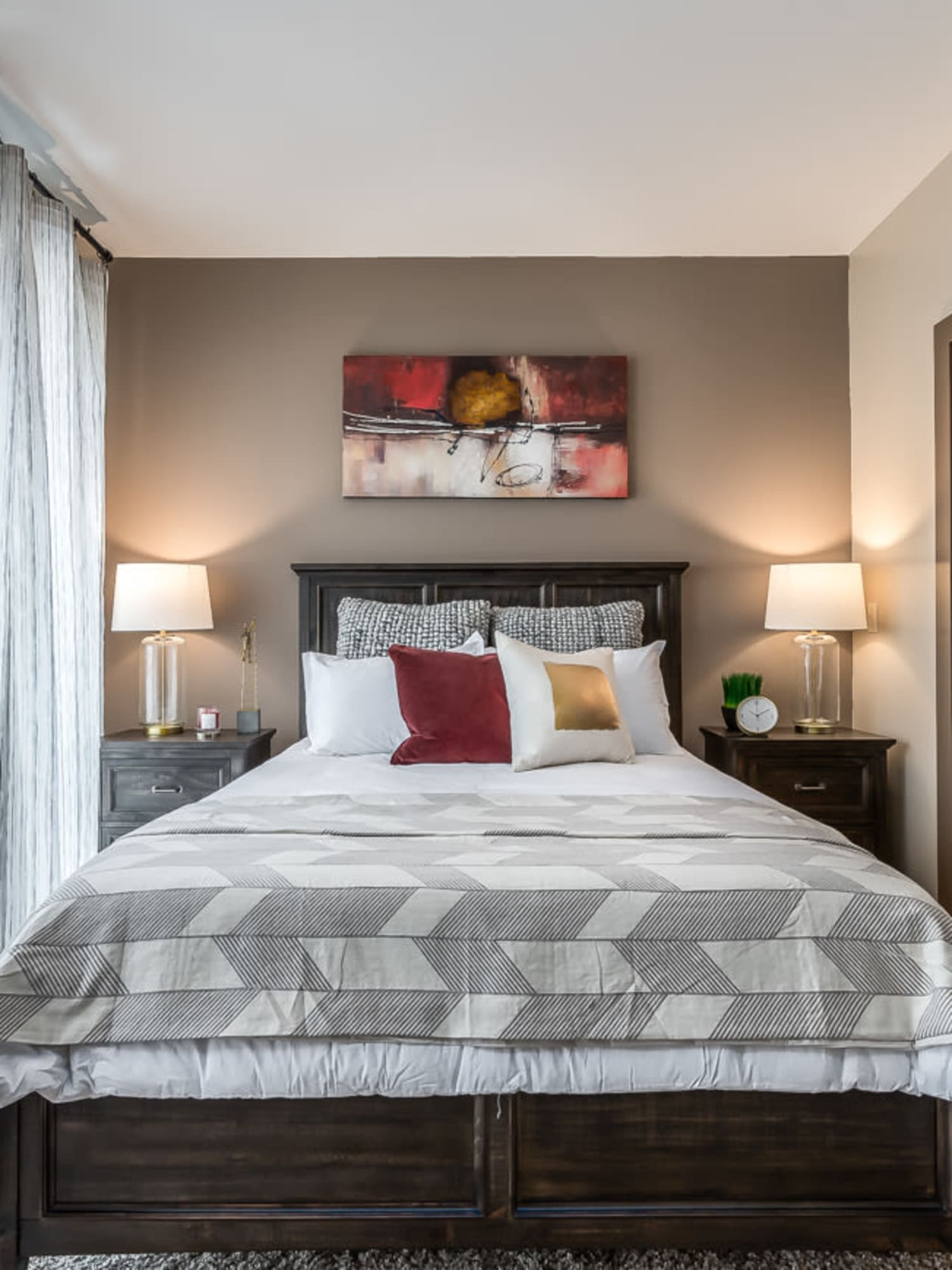Model bedroom at Latitude at Deerfield Crossing in Mason, Ohio