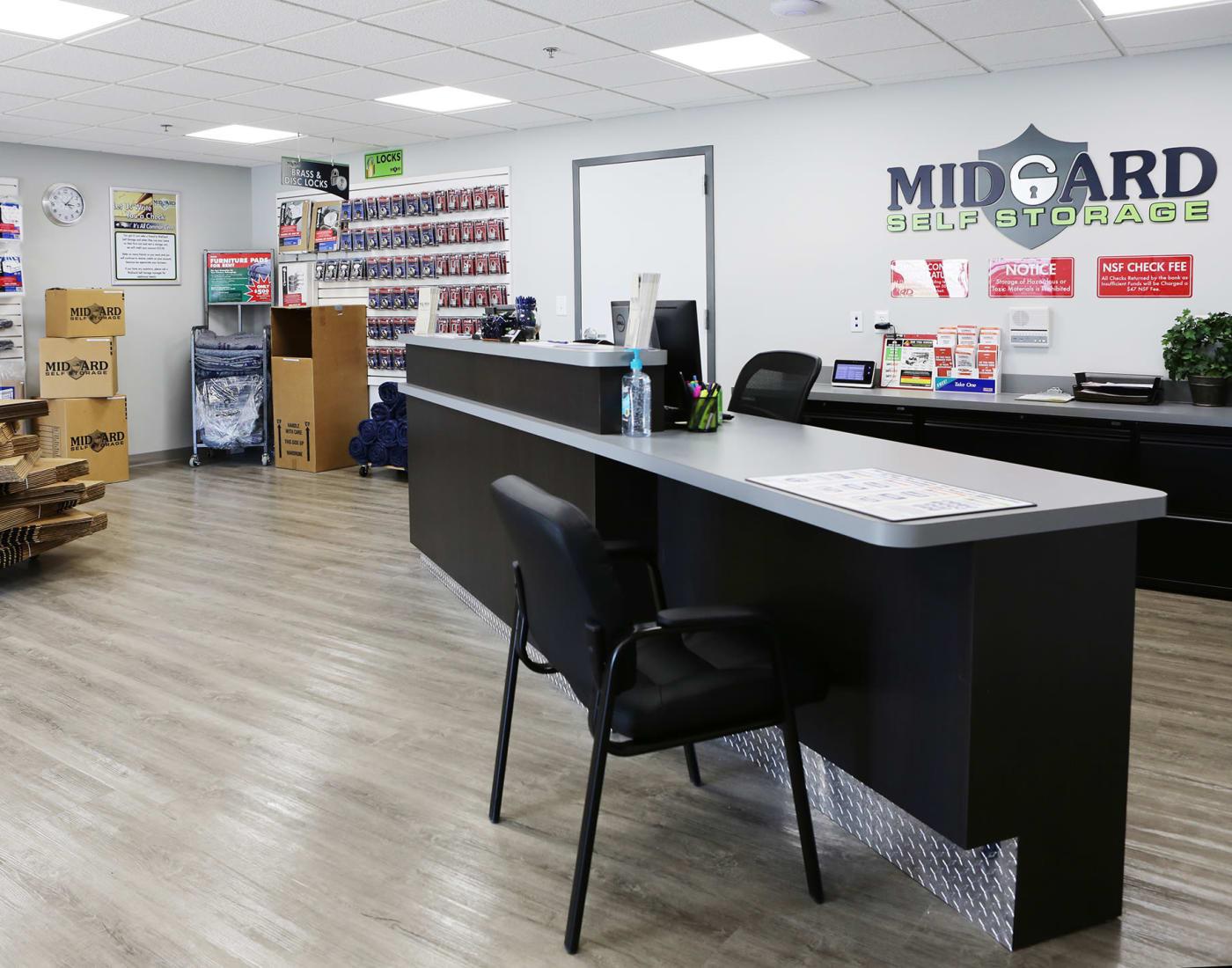 Leasing office at Midgard Self Storage in Brevard, North Carolina