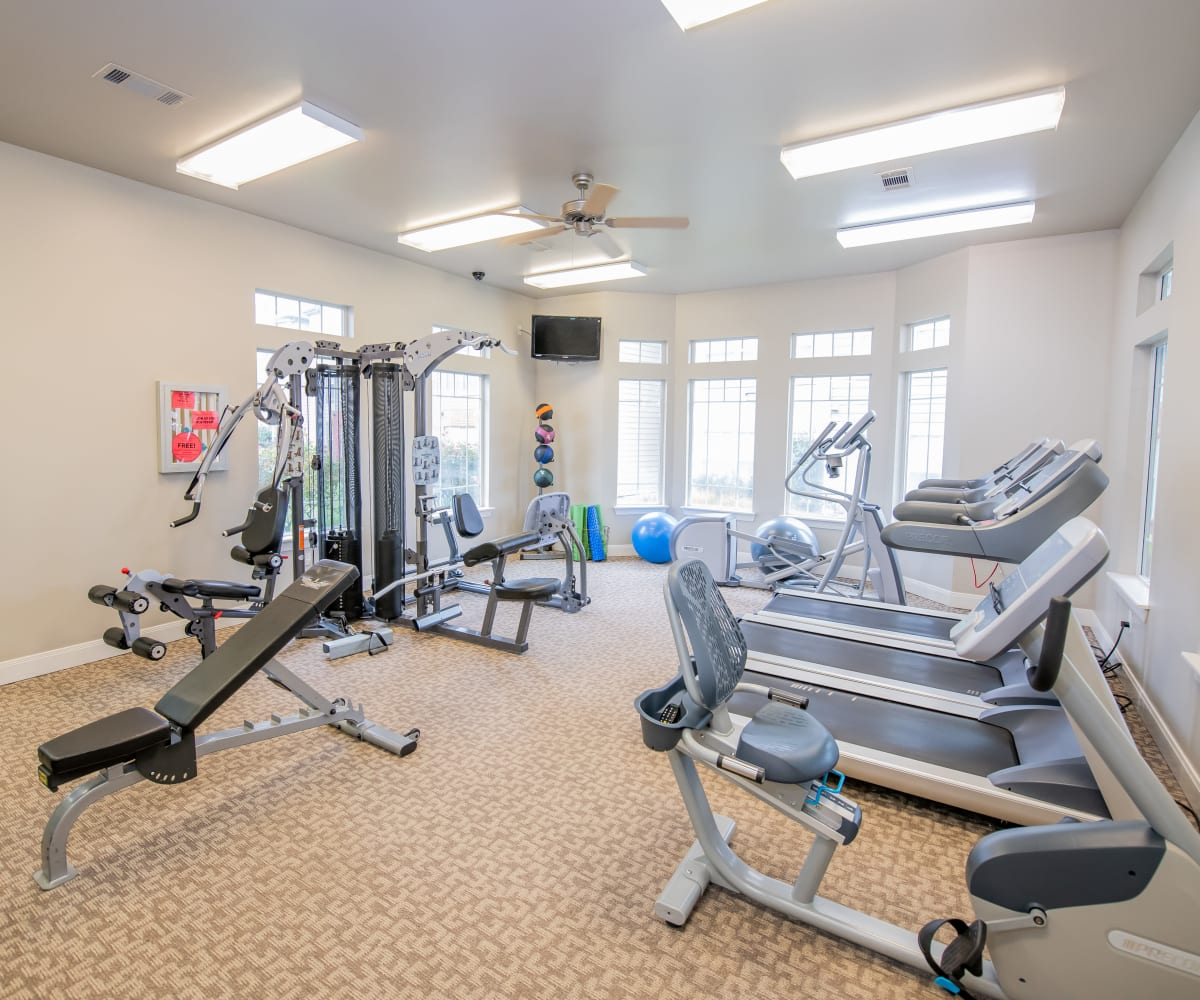 Modern fitness center at Colonies at Hillside in Amarillo, Texas