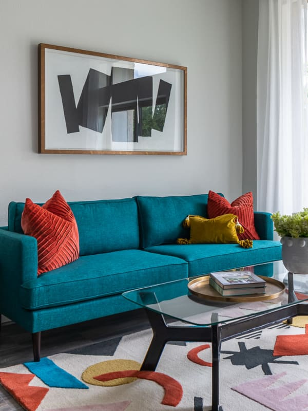 Model living room at Bellrock Summer Street in Houston, Texas