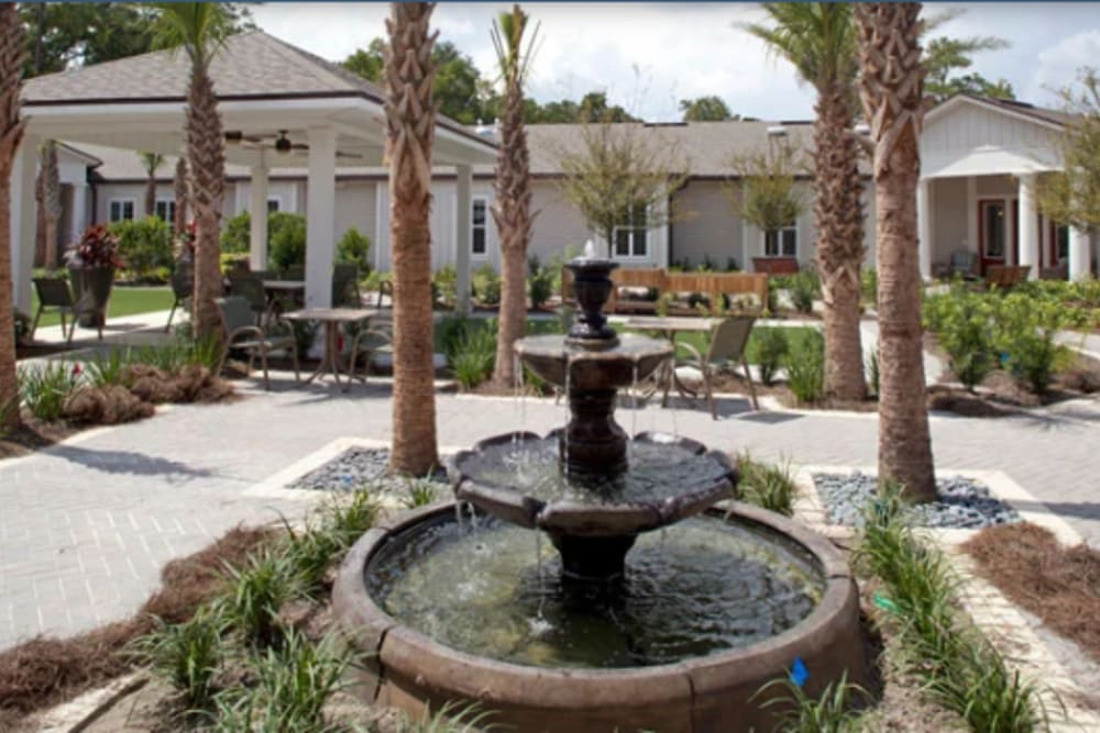A water feature in the courtyard at Ortega Gardens Alzheimer's Special Care Center in Jacksonville, Florida