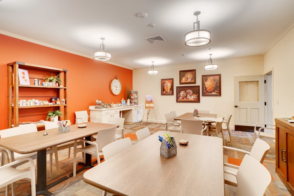 Dining hall at The Park at Modesto Independent Living Community
