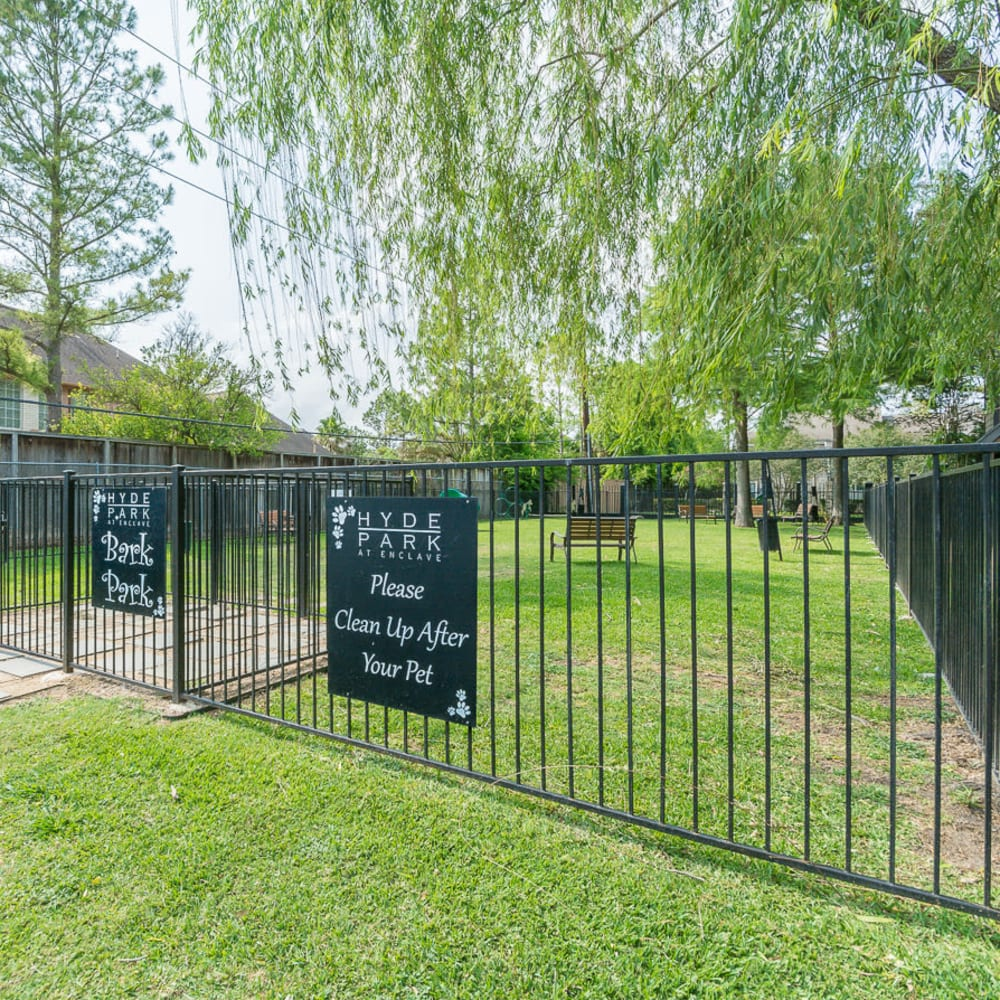 Large gated bark park at Hayden at Enclave in Houston, Texas