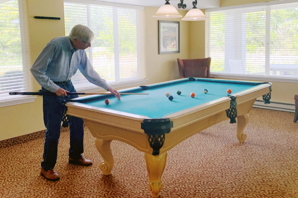 Pool Table at Maple Ridge Senior Living in Ashland, Oregon