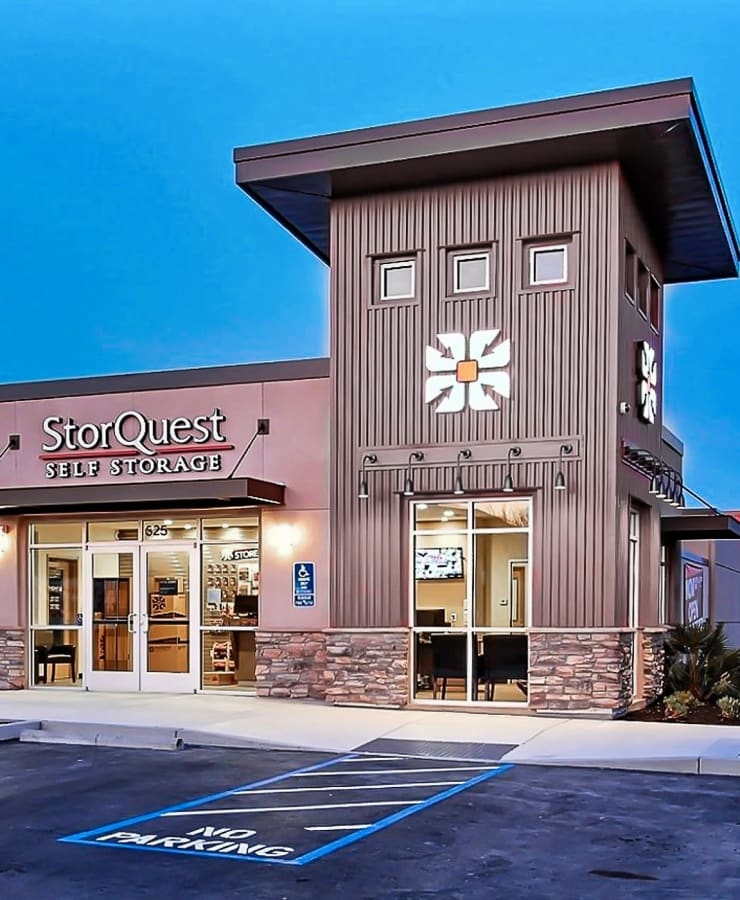 The exterior of the main entrance at StorQuest Self Storage in Walnut Creek, California