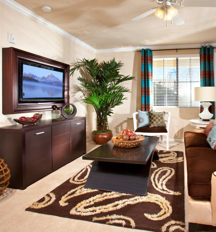Beautiful decor in model home living room at Mountain Gate & Mountain Trails