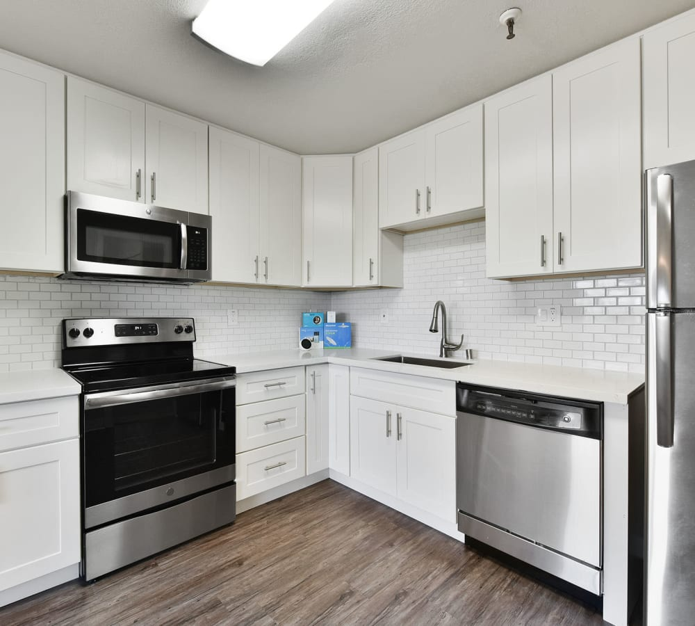 Spacious kitchen with lots of counter top space at Tower Apartment Homes in Alameda, California