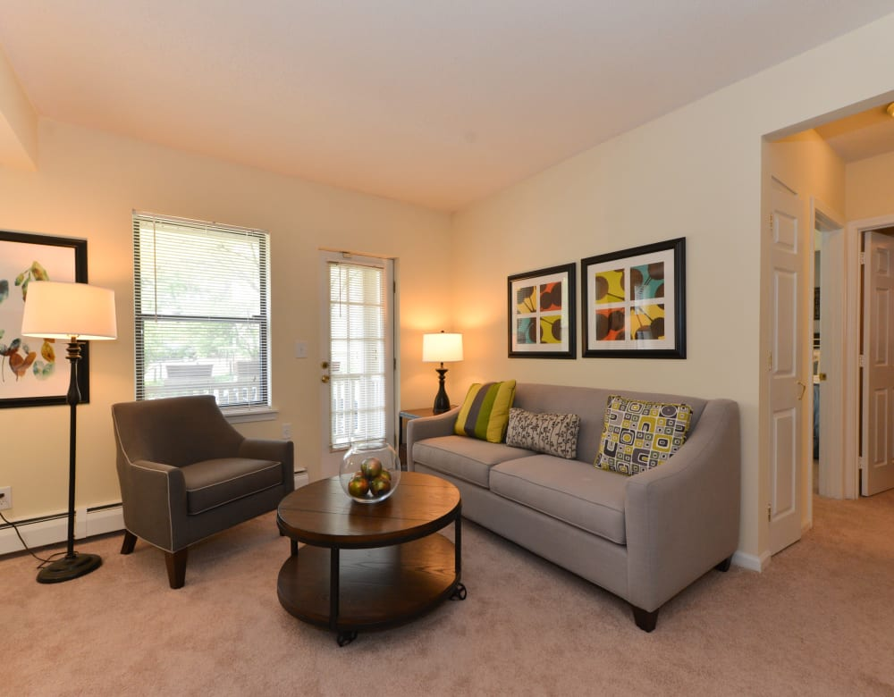 Bright, spacious living room at Clemens Place in Hartford, Connecticut
