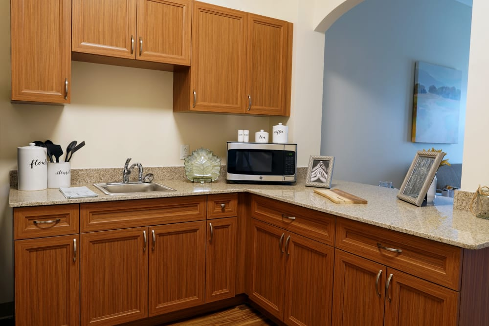 A kitchen at Harmony at Morgantown in Morgantown, West Virginia