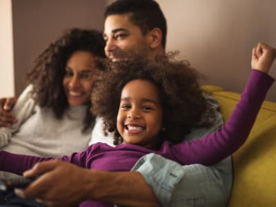 Happy family at The Townhomes at Diamond Ridge in Baltimore, Maryland
