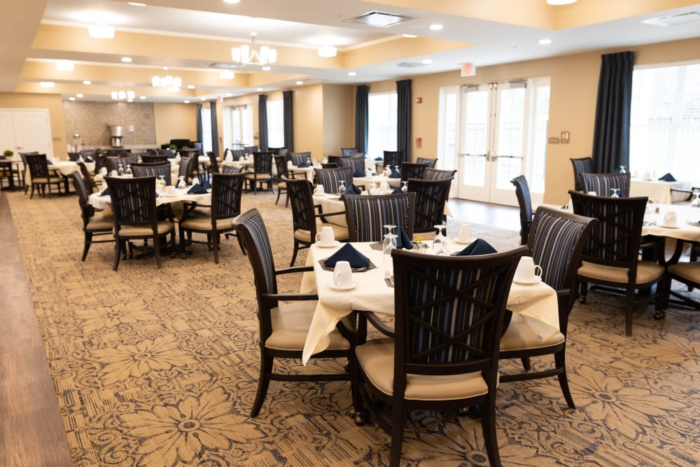 Dining room at Harmony at State College in State College, Pennsylvania