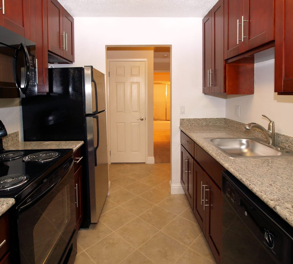 Kitchen wood-style cabinets at Regency Plaza Apartment Homes in Martinez, California