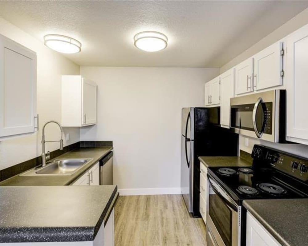 New kitchen with a stainless-steel sink at Northwind Apartments in Reno, Nevada