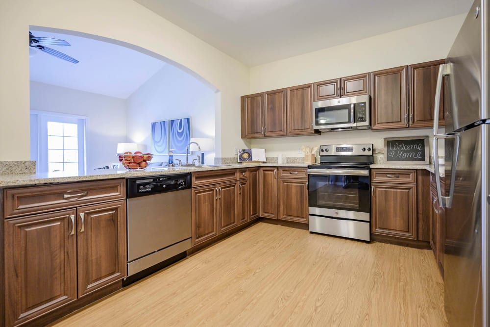 An apartment kitchen at Harmony at Victory Station in Murfreesboro, Tennessee