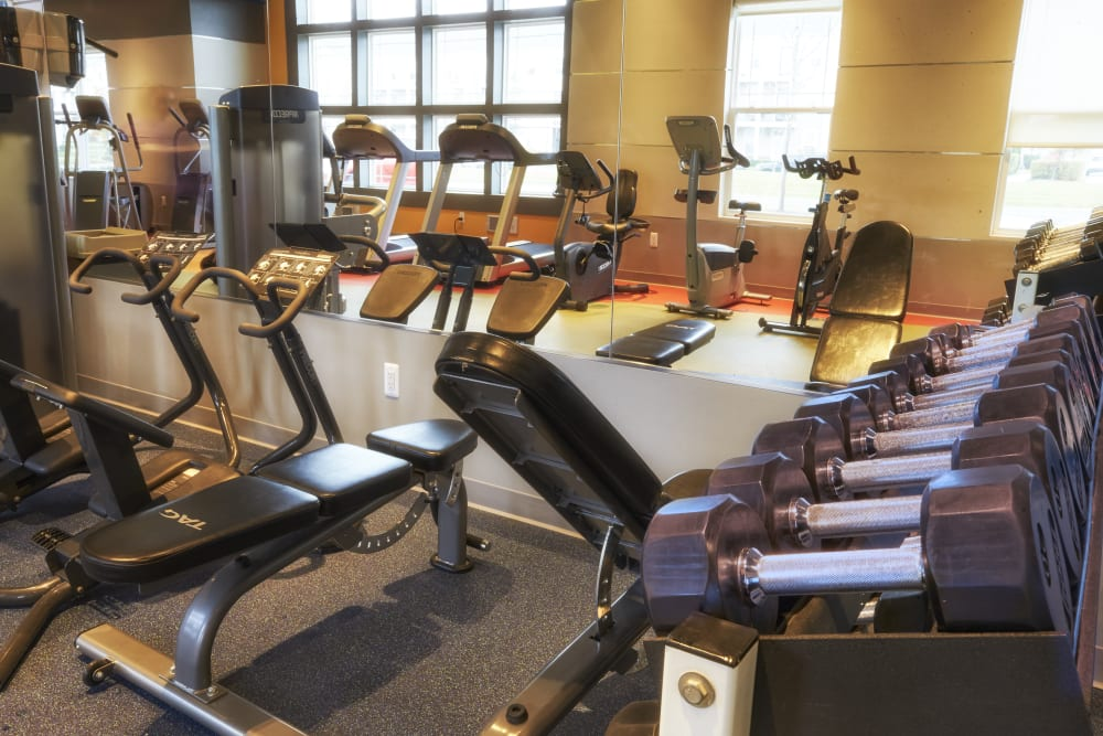 Well equipped fitness center at Uptown in Canton in Canton, Michigan