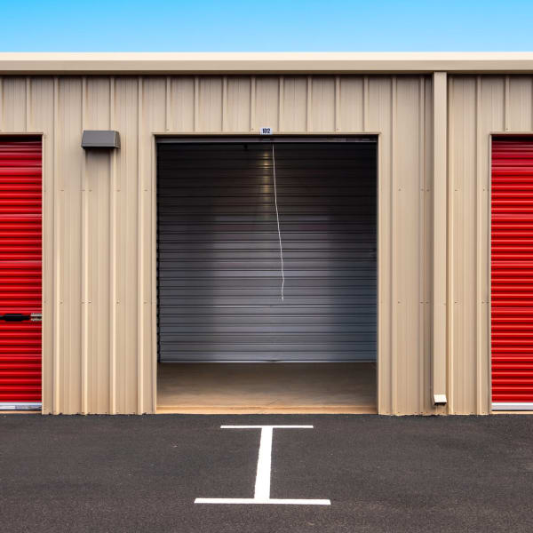 Outdoor storage unit with the door open at StorQuest Express - Self Service Storage in Kapolei, Hawaii