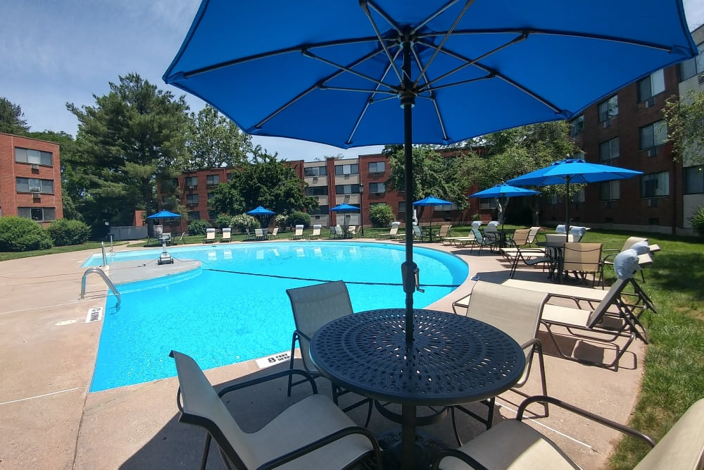 Sunshades by the pool at Westgate West Hartford in West Hartford