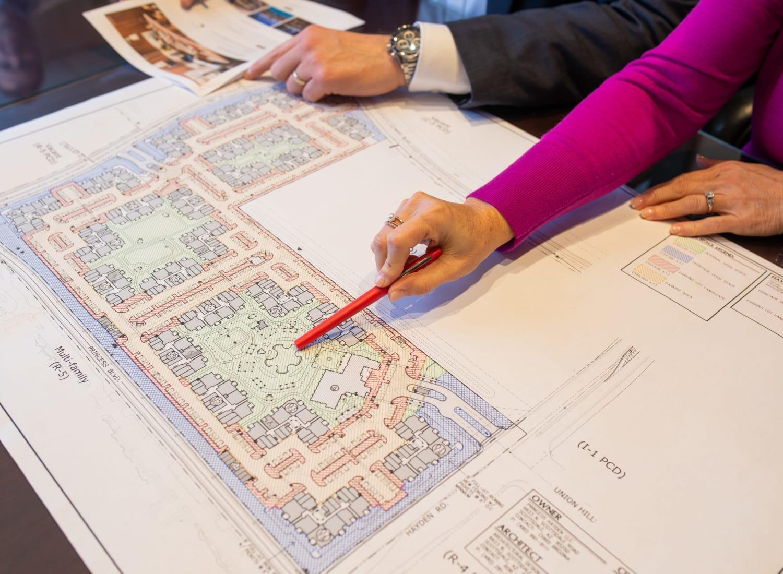 Blueprint on table at Mark-Taylor