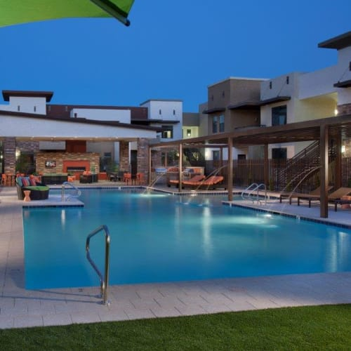 Twilight at the swimming pool at Vive in Chandler, Arizona