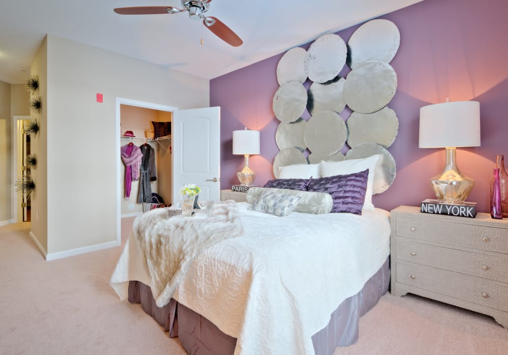 Bedroom with a large closet at Manor Six Forks in Raleigh, North Carolina