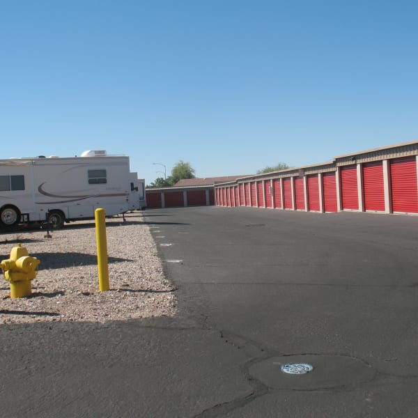 Outdoor storage units and RV parking at StorQuest Self Storage in Apache Junction, Arizona