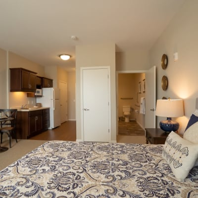 Memory care bedroom suite at The Sanctuary at St. Cloud in St. Cloud, Minnesota