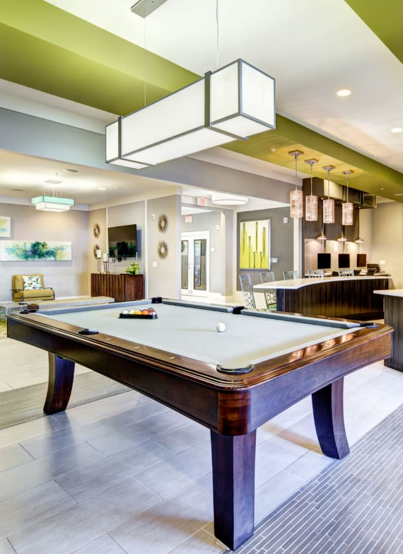 Recreation area with pool table at Marquis at Morrison Plantation in Mooresville, North Carolina