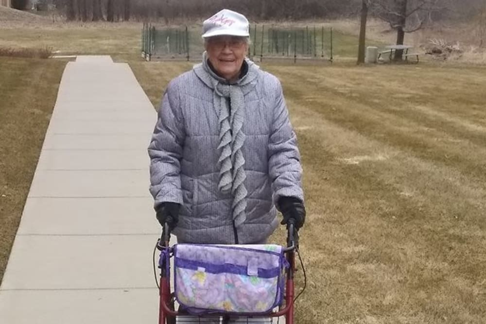 senior resident enjoying a walk outside