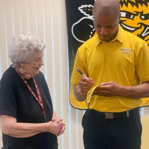 Resident and WSU coach at Oxford Villa Active Senior Apartments in Wichita, Kansas