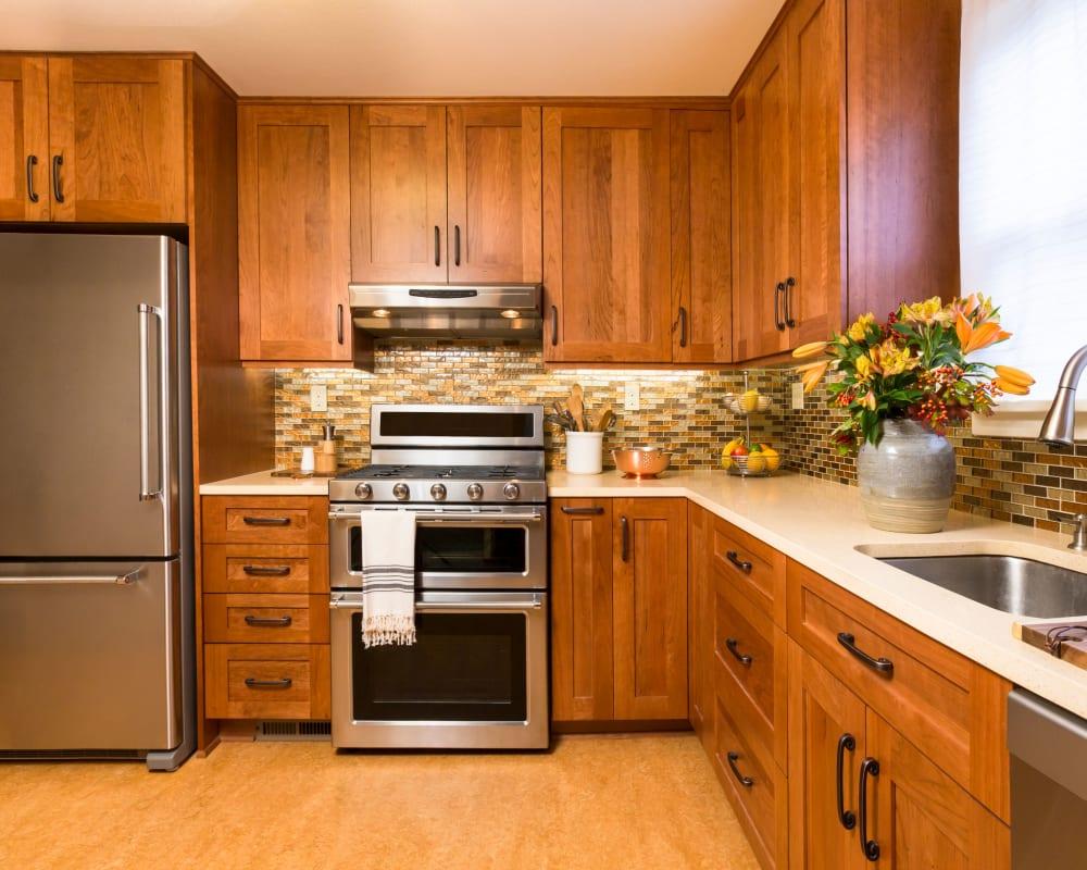 Model home's gourmet kitchen at El Potrero Apartments in Bakersfield, California