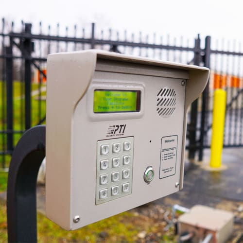 Keypad at entrance gate of Red Dot Storage in Cedar Falls, Iowa