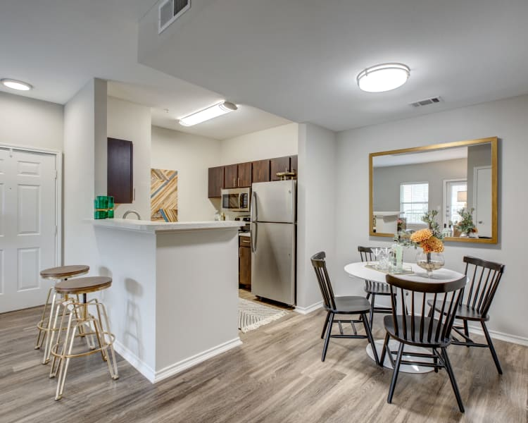 Our modern apartments at Arya Grove in Universal City, Texas showcase a kitchen