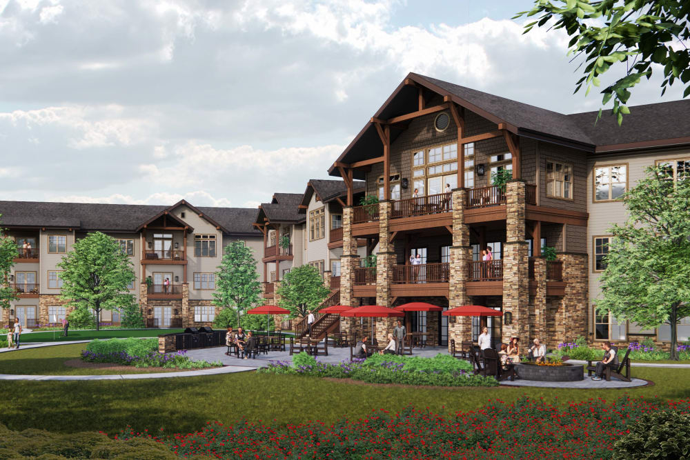 Courtyard and exterior of building at Applewood Pointe of Westminster in Westminster, Colorado