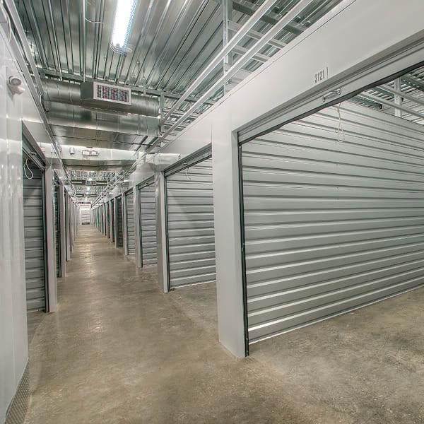 Open indoor storage units at StorQuest Self Storage in Reno, Nevada