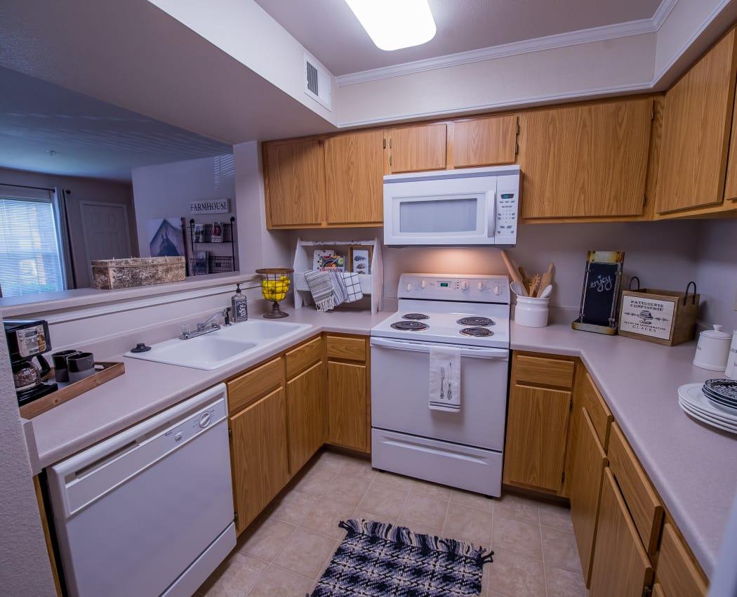 Modern kitchen at The Remington Apartments in Wichita, Kansas