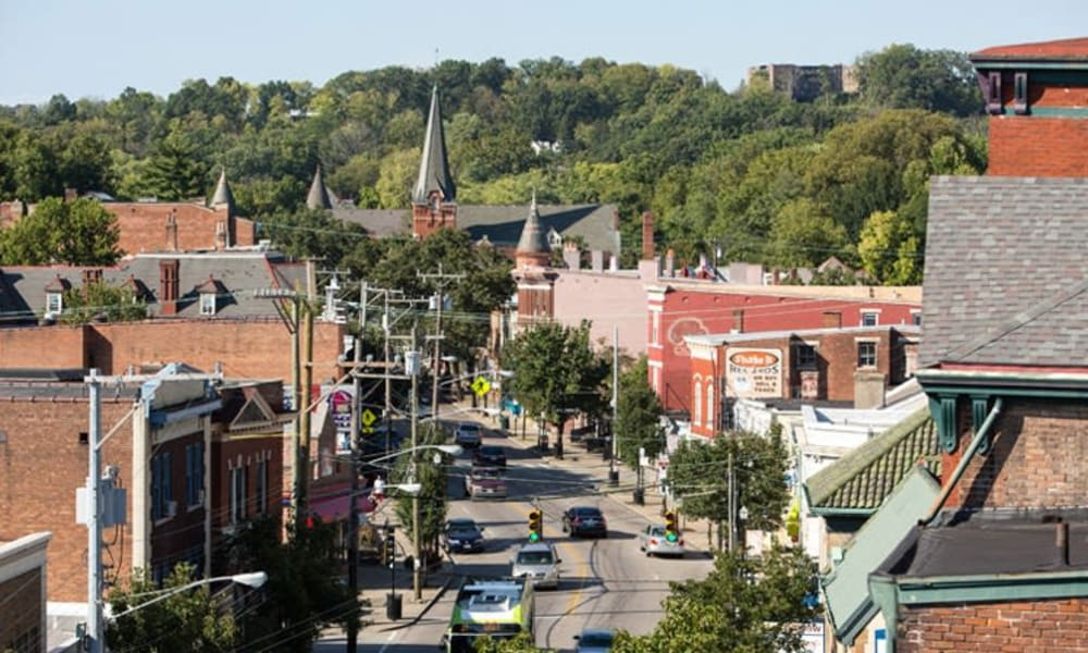 Elevated view of the neighborhood at Gantry Apartments in Cincinnati, Ohio