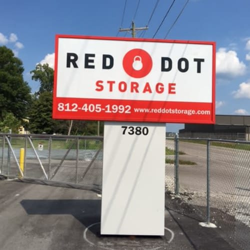 Red Dot Storage sign at the entrance to Red Dot Storage in Terre Haute, Indiana