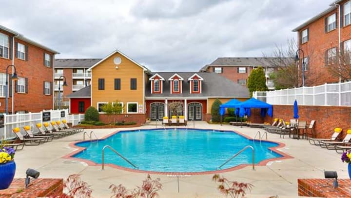 Swimming pool area at one of our new community acquisitions in North Carolina at American Landmark