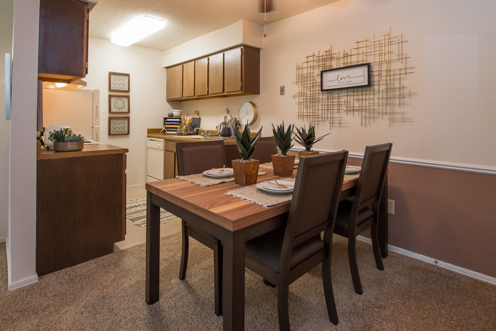 Dining room at Raintree Apartments in Wichita, Kansas