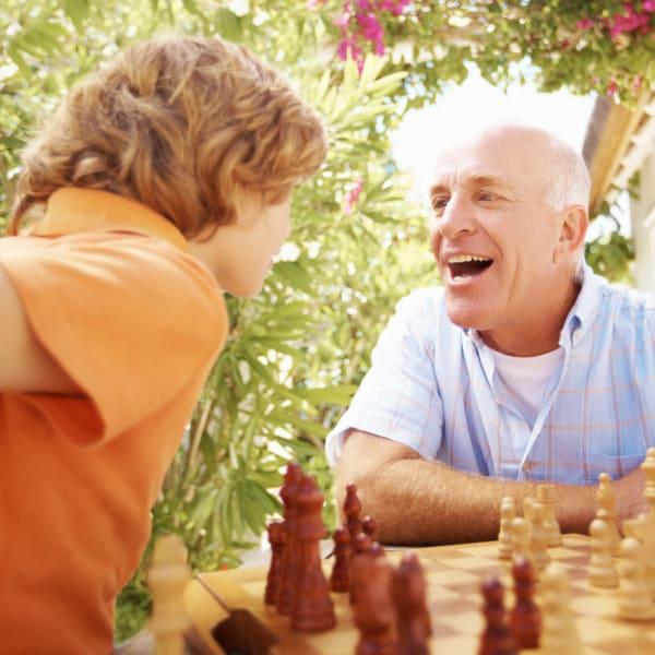 Playing chess near Chesapeake Place Senior Living in Chesapeake, Virginia.