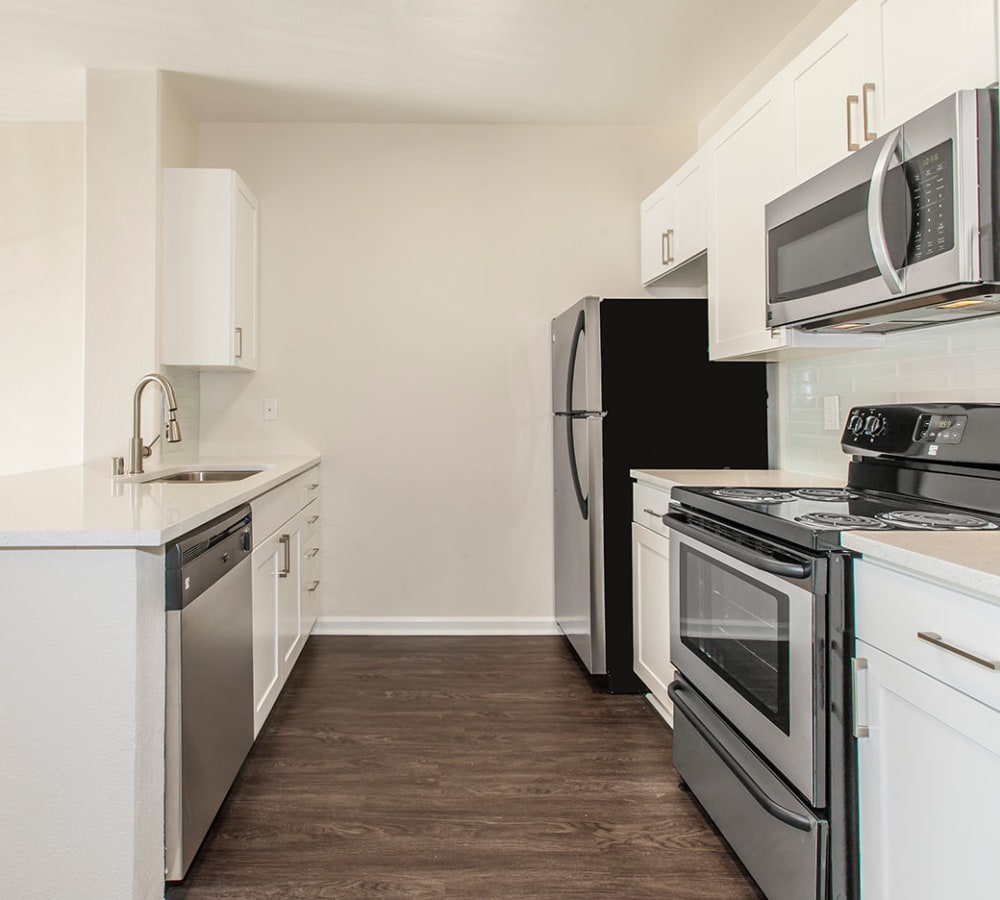 Luxury kitchen with stainless-steel appliances at Park Central in Concord, California