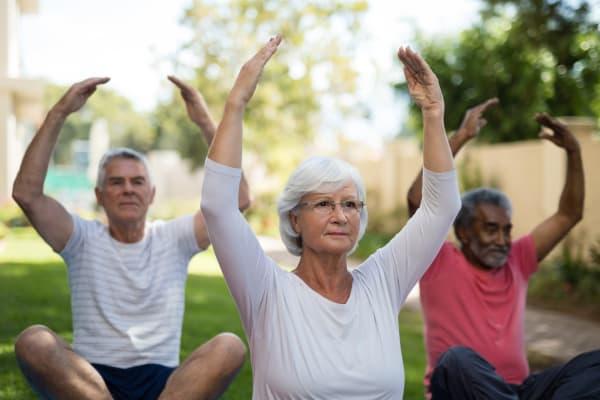 assisted living senior residents doing yoga activities program