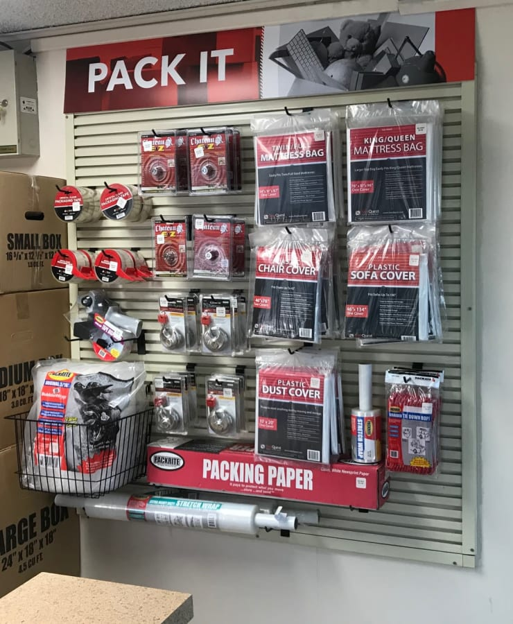 Boxes and packing supplies available at StorQuest Self Storage in Loma Linda, California
