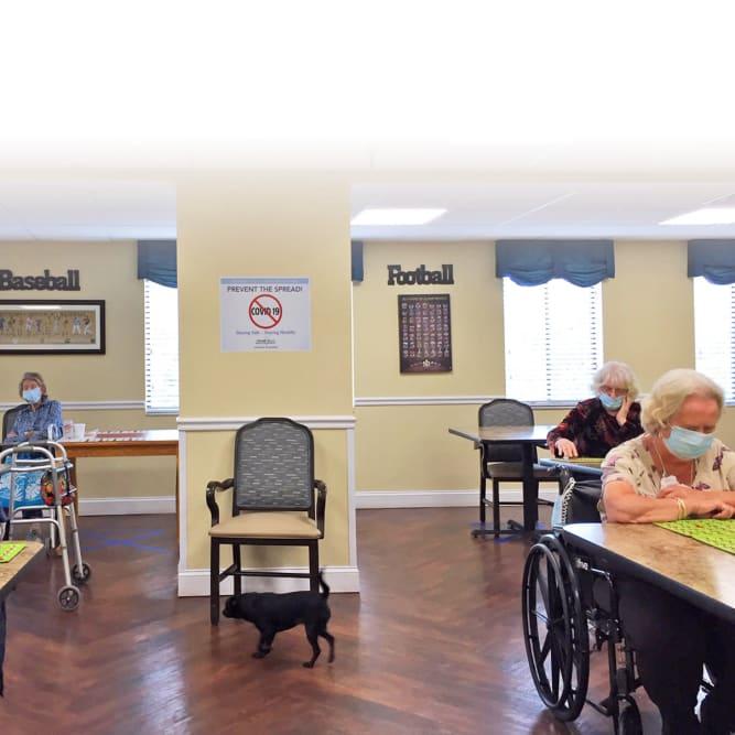 Residents playing bingo at Grand Villa of Palm Coast in Palm Coast, Florida
