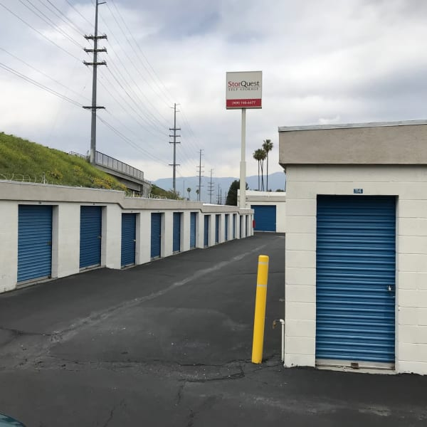 Outdoor storage units with drive-up access at StorQuest Self Storage in Loma Linda, California