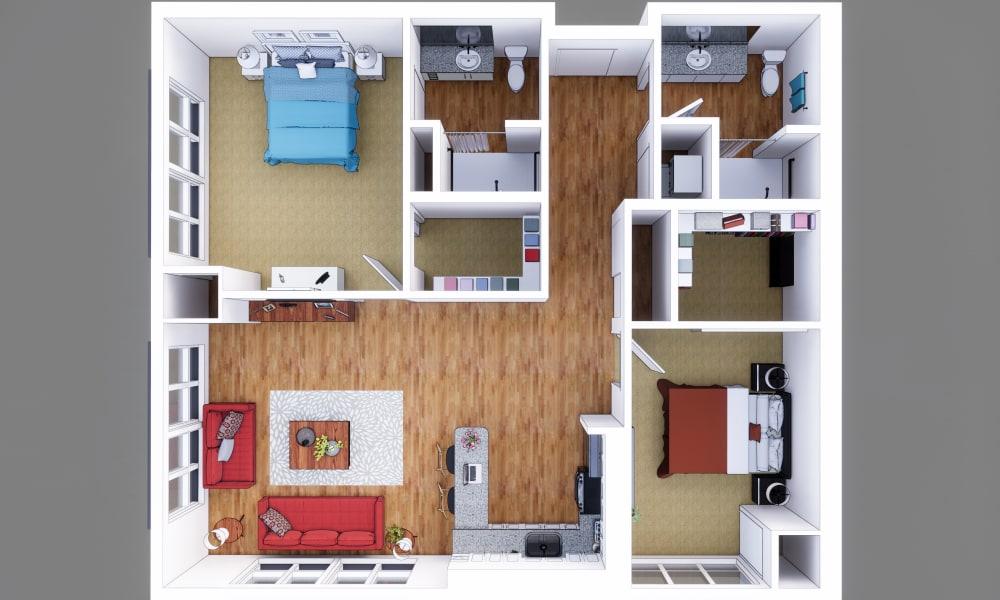Resident floor plan at Merrill Gardens at Columbia in Columbia, South Carolina.