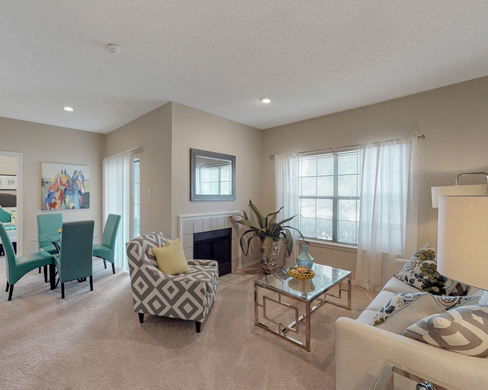 Spacious living room at Oaks Hackberry Creek in Irving. Texas
