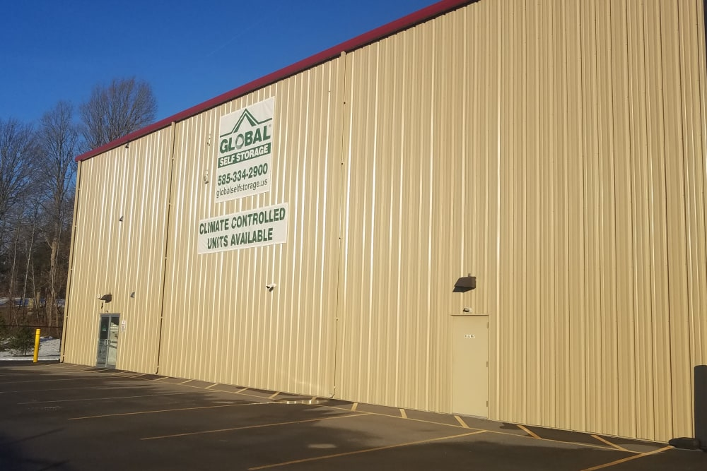 Exterior of Climate Controlled units at Global Self Storage in West Henrietta, New York
