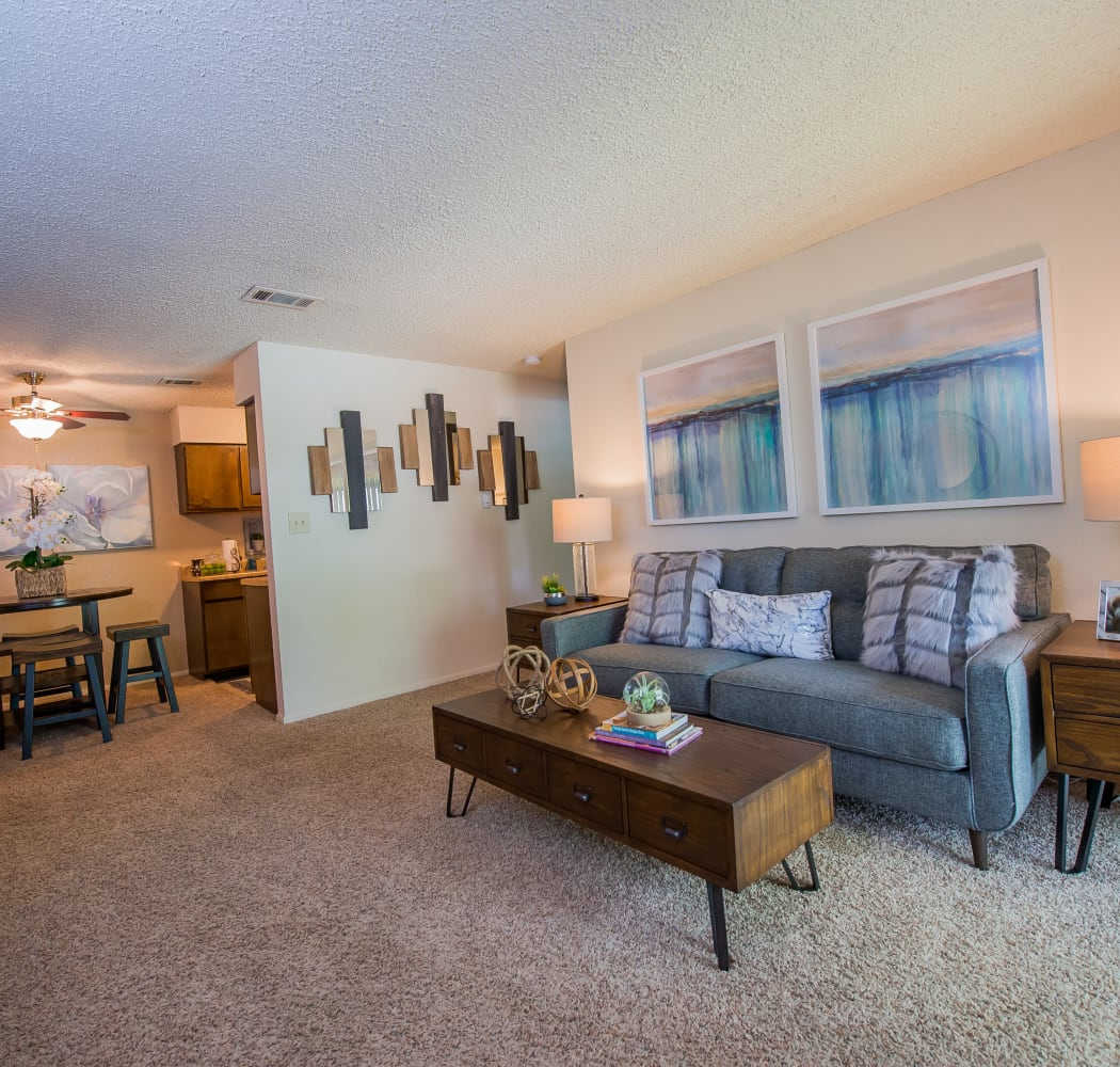 Eagle Point Apartments living room in Tulsa, Oklahoma